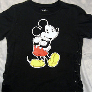 DISNEY Mickey Mouse Girl's T-Shirt Black w/ Laces